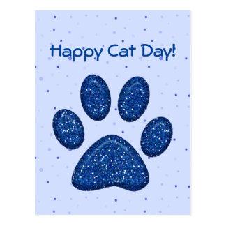 impressão sparkling da pata do gato - azul cartao postal
