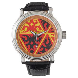Impressão tribal com relógio das bobinas