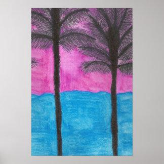Impressão tropical da arte da aguarela da fuga