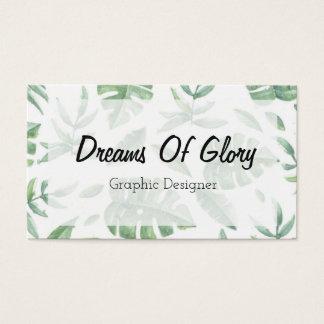 Impressão tropical elegante da folha no cartão de