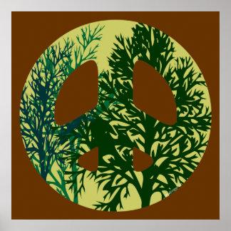 Impressão verde do símbolo de paz das árvores
