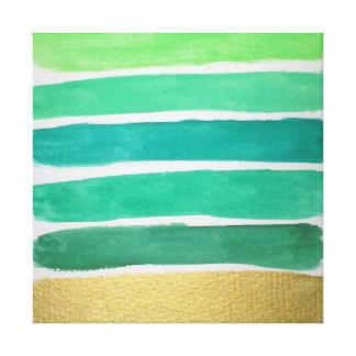 Impressão verde dourado das canvas das listras