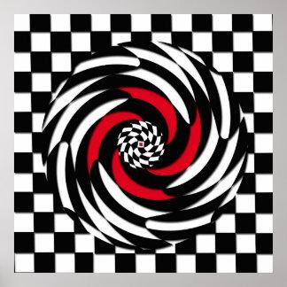 Impressão vermelho, branco e preto do Vortex do