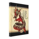 Impressão vermelho chinês das canvas do dragão impressão de canvas envolvidas