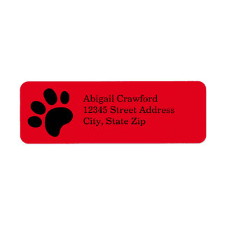 Impressão vermelho da pata - etiqueta de endereço