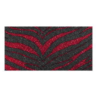 Impressão vermelho da zebra do brilho cartão com foto