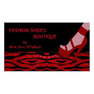 Impressão vermelho da zebra dos calçados da forma cartão de visita
