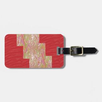Impressão vermelho elegante DE SEDA do tecido das  Etiqueta De Bagagem