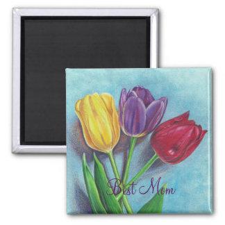Impressão violeta vermelho amarelo da arte das ímã quadrado