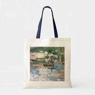 Impressionismo do vintage, o porto, agradável por sacola tote budget