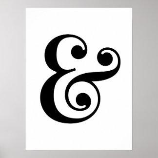 Impressões brancos pretos da arte do ampersand