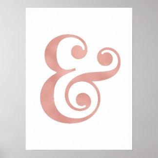 Impressões cor-de-rosa da arte do ampersand da