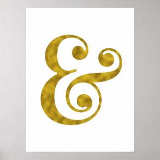 Impressões da arte do ampersand da folha de ouro
