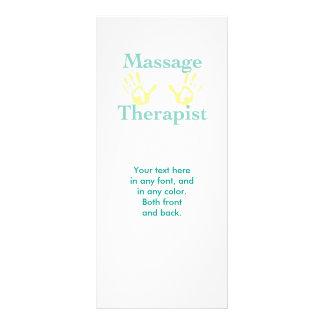 Impressões da mão do terapeuta da massagem 10.16 x 22.86cm panfleto