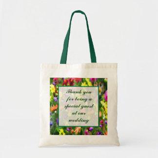 Impressões florais que Wedding o favor Sacola Tote Budget