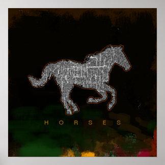 impressões running do cavalo poster