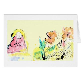 Incentivo, amizade, cartão da meditação
