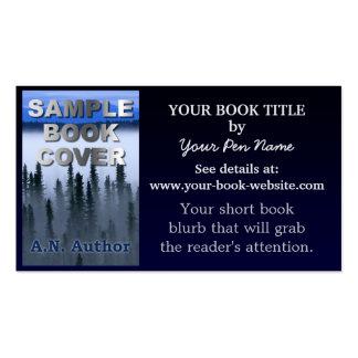 Inclinação do azul do livro da promoção do autor d cartão de visita