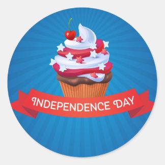 Independência estrelas azuis vermelhas do cupcake adesivo