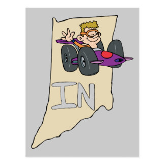 Indiana no mapa com desenhos animados engraçados cartão postal