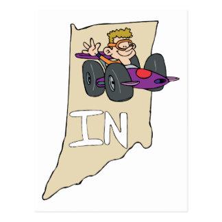 Indiana no mapa com desenhos animados engraçados d cartão postal
