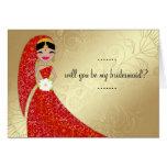 Indiano ornamentado do Brunette de Updo do vestido Cartão Comemorativo