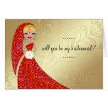 Indiano ornamentado do louro de Updo do vestido do Cartão Comemorativo