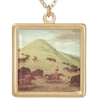 Indianos de Sioux que caçam o búfalo, 1835 (óleo e Colar