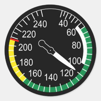 Indicador de velocidade aerodinâmica dos aviões adesivos redondos
