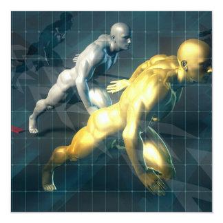 Indivíduos autorizados que competem para promover convite quadrado 13.35 x 13.35cm