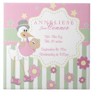 Informação do nascimento - cegonha cor-de-rosa do