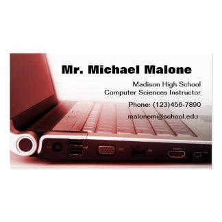 Informação do professor do técnico do teclado do cartão de visita