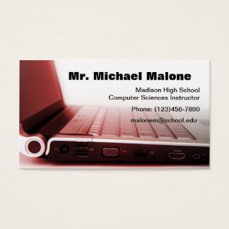 Informação do professor do técnico do teclado do cartão de visitas