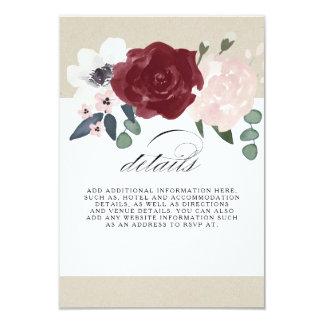 Informação floral romântica convite 8.89 x 12.7cm