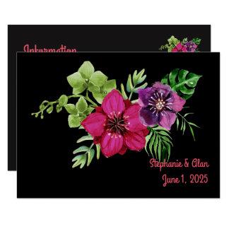 Informação floral verde roxa do casamento do rosa convite 8.89 x 12.7cm