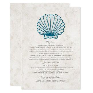 Informação rústica do casamento do Seashell dos Convite 12.7 X 17.78cm