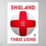 Inglaterra - futebol de três leões pôsteres