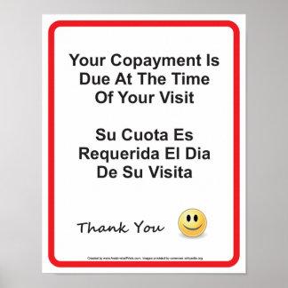 Inglês-espanhol do doutor Escritório Copayment Par Poster