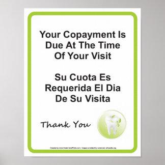 Inglês-espanhol do sinal da parede do Copayment do Poster