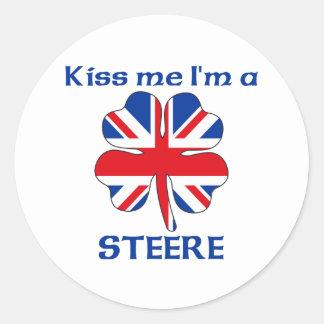 Ingleses personalizados beijam-me que eu sou adesivos em formato redondos
