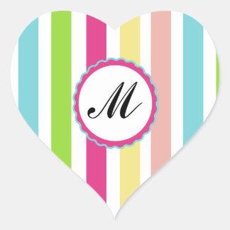 Iniciais cor-de-rosa coloridas listradas do monogr adesivos em forma de corações
