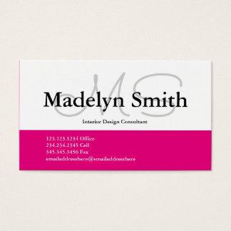 Iniciais cor-de-rosa corajosas modernas - cartão