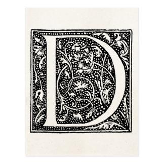 """Iniciais do pergaminho """"D"""" do monograma da letra D Cartão Postal"""