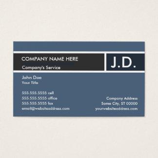 iniciais profissionais azuis cartão de visitas