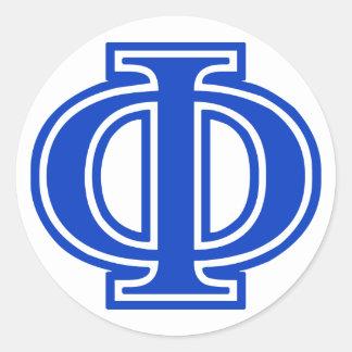 Inicial azul do monograma da phi grega da letra adesivo