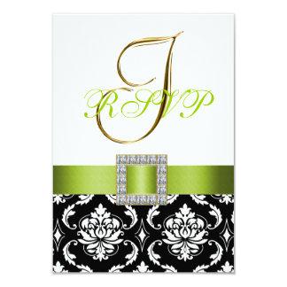 Inicial branca preta verde do damasco que Wedding Convite 8.89 X 12.7cm