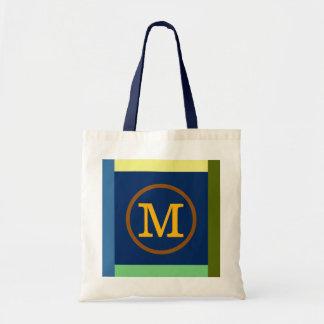 Inicial, cores & monograma de M Sacola Tote Budget