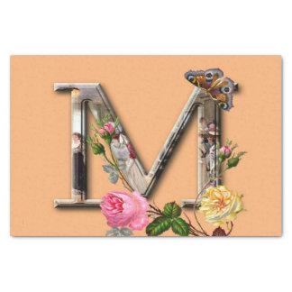 """Inicial decorativa """"M"""" da letra Papel De Seda"""