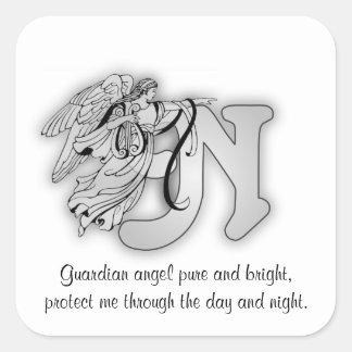 Inicial do alfabeto do monograma do anjo da letra adesivo quadrado