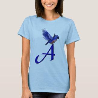 Inicial do monograma uma camisa do Bluebird